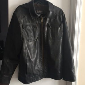 Leather like insulated jacket
